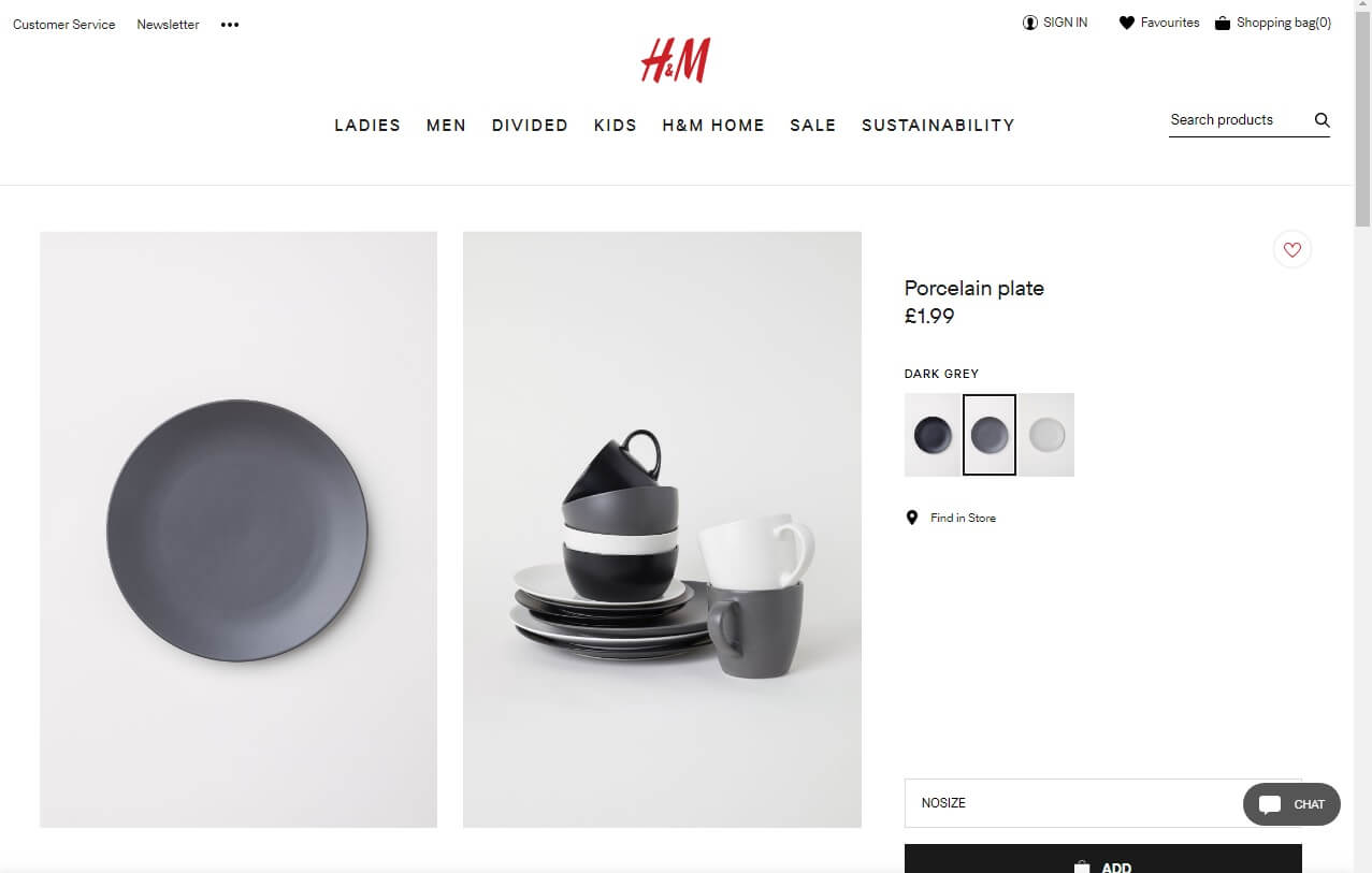 The H&M website showing plates
